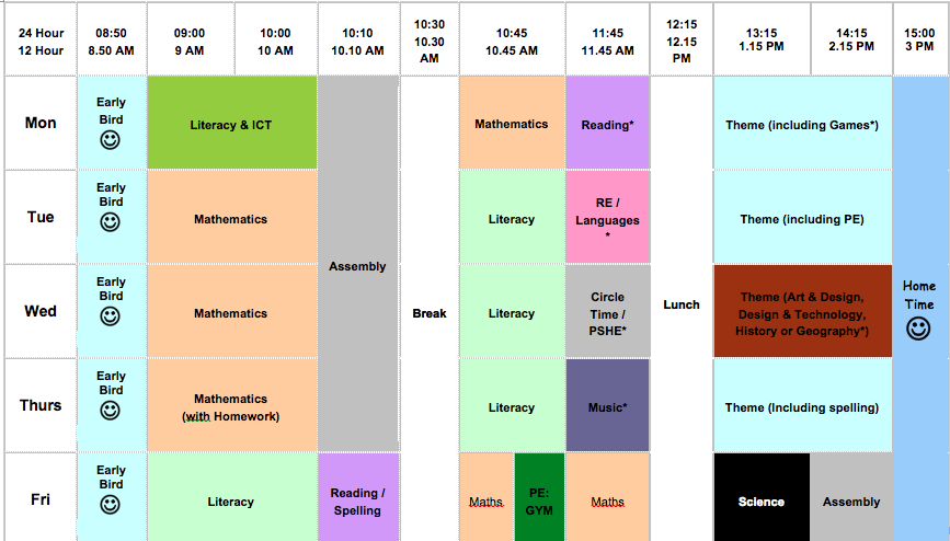 Primary Editable class timetable template – Class Timetable Template