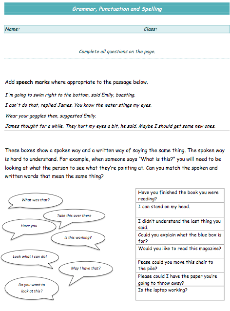 Key Stage 2 (Ages: 7-11) - Spelling Punctuation and Grammar Worksheet ...
