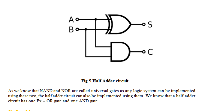 ADDER CIRCUITS HALF ADDER AND FULL ADDER CIRCUIT