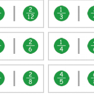 Fraction dominoes game - equivalent fractions