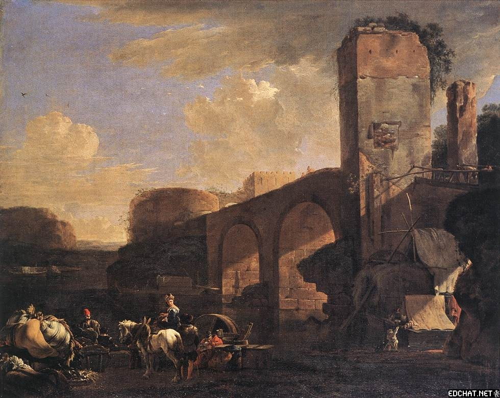 Italian Landscape With River And An Arched Bridge