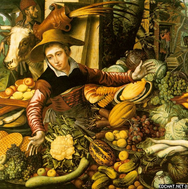Market Woman with Vegetable Stall