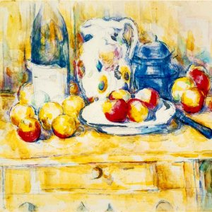 Still Life with Apples, a Bottle, and a Milk Pot
