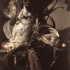Still Life Of Dead Birds And Hunting Weapons