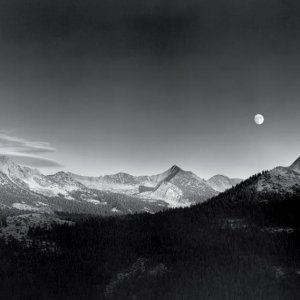 Autumn Moon, the High Sierra from Glacier Point, Yosemite NP, CA, 1948 by Ansel Adams