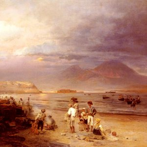 Fishermen With The Bay Of Naples And Vesuvius Beyond